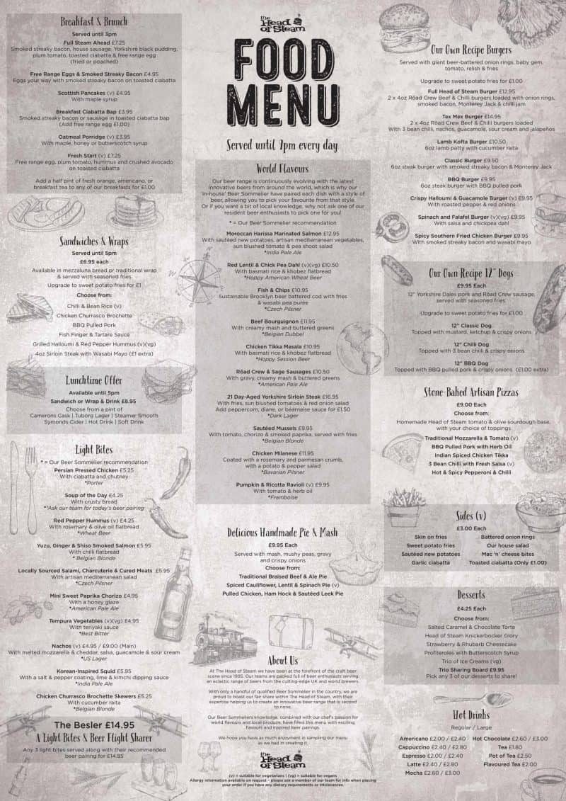 Menu at The Head Of Steam Nottingham