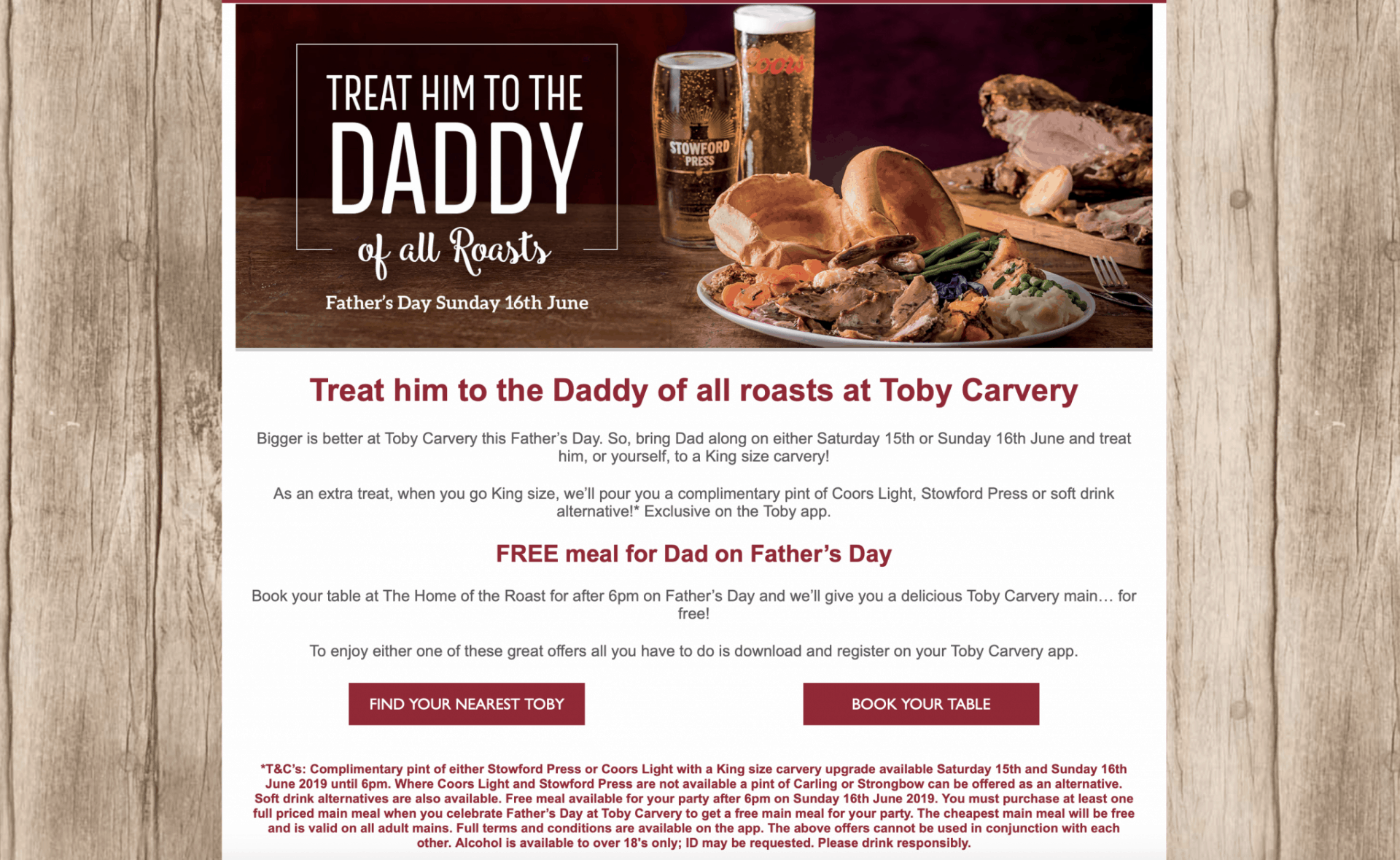 Toby Carvery Father's Day Offer
