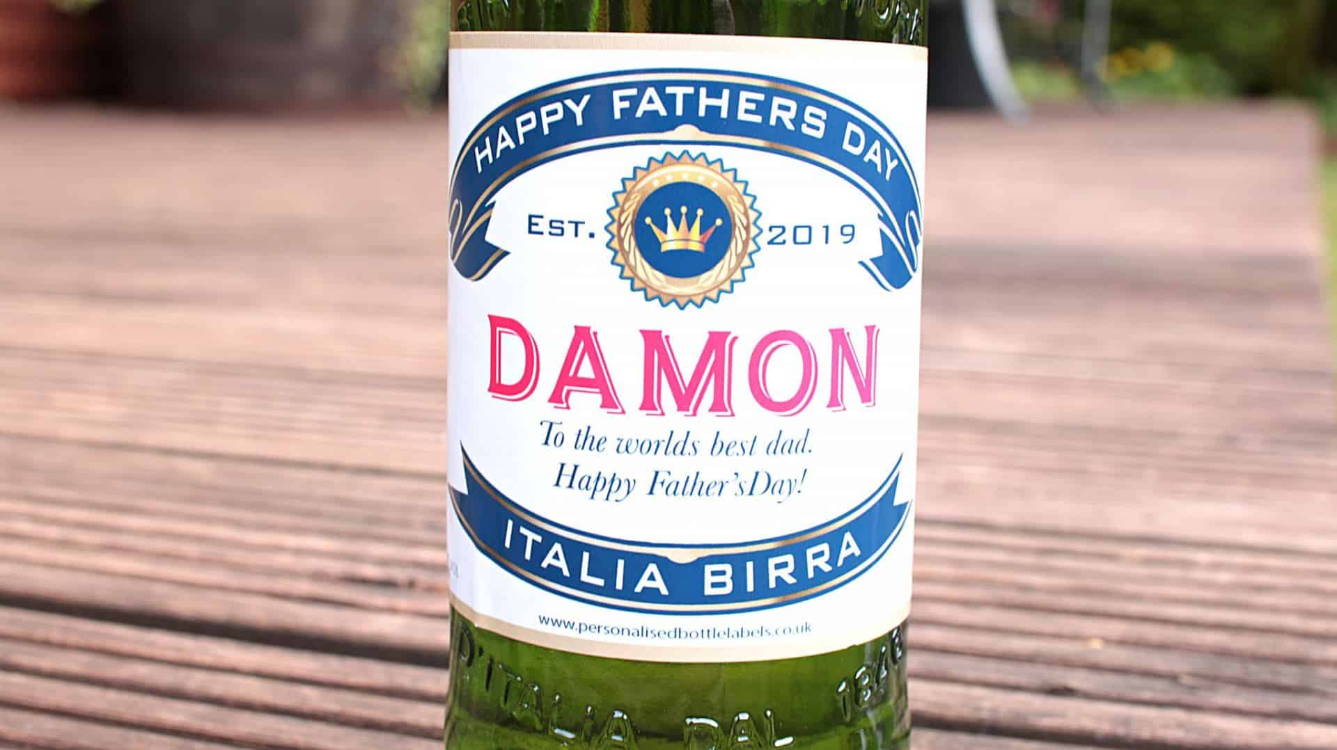 Personalised bottle of Peroni with the name 'Damon' followed by a heartfelt message reading 'To the world's greatest Dad'