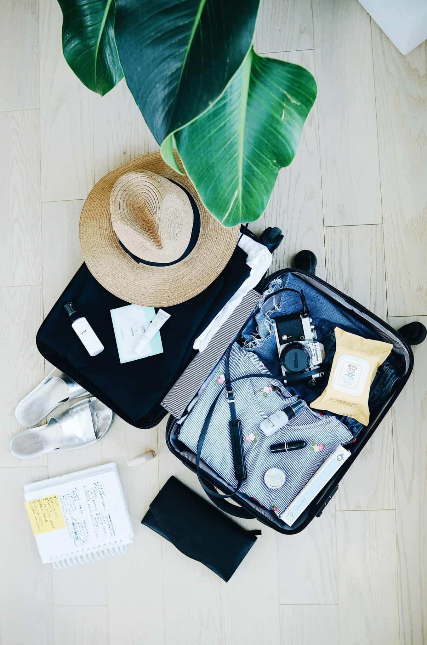 suitcase with holiday essentials